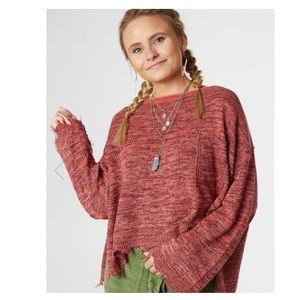 Free People Prism Pullover Sweater in Coral Combo Small